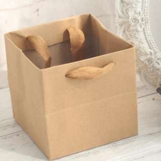 Square Base Paper Bag with Broad Handle
