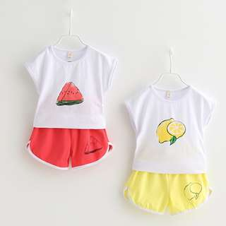 Kids Fashion Children Girl Toddler Clothings - Fruits Print Casual Style Cotton Top w Shorts Set