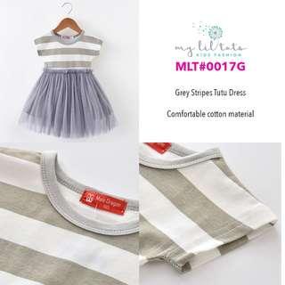 Korean Style Kids Fashion Girl Toddler Clothes - Grey Stripes Tutu Dress