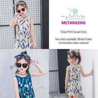 Kids Fashion Children Baby Girl Toddler Clothings - Tulips Print Casual Cotton Dress