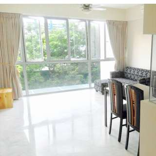 5MINS TO MRT. 2 BEDRM CONDO + 1 UTILITY RM FULLY FURNISHED, CLOSE TO MANY AMENITIES, CLEAN & WELL KEPT, BRIGHT & BREEZY.