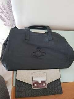 VivienneWestwood 黑皮手袋包郵