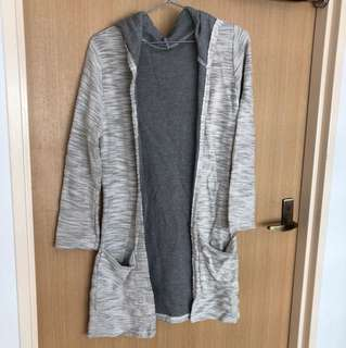 Grey Textured Long Cardigan with Hoodie