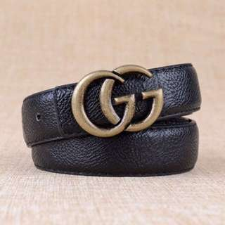 Trendy black basic essentials Gucci logo women's belt