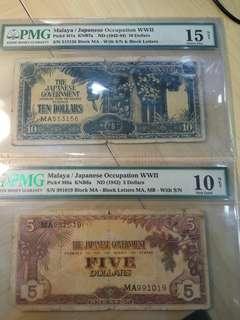 Malaya JIM $10 & $5 Dollars with serial number Fine grade