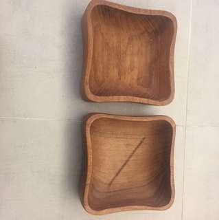 Wooden tray 小方木盆x2