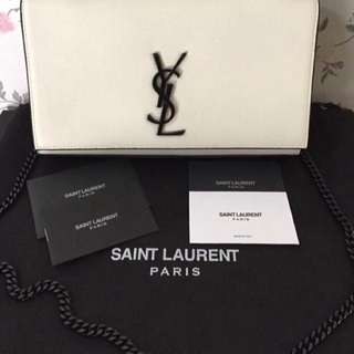 Authentic YSL Kate white flap with black hardware😍