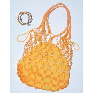 Mesh Net Drawstring Tote Beach Bag