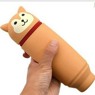 矽膠拉鍊動物柴犬造型可伸縮筆筒筆袋(全新連膠盒)  Shiba Lnu Stand Pen Case (New)