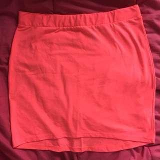h&m neon pink mini skirt