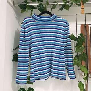Blue Grey White Stripe Knit Top