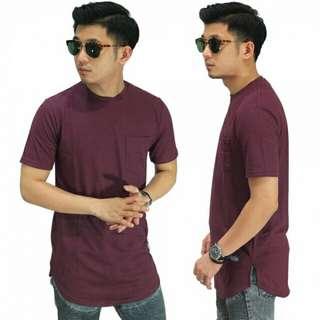 PROMO - Longline T-Shirt Basic Dark Maroon