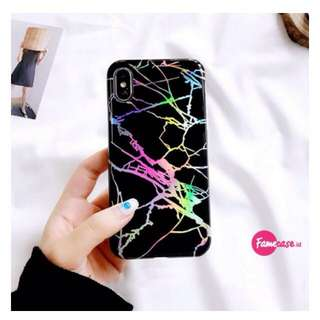 HOLO MARBLE LASER CASE IPHONE (BLACK)