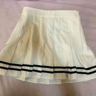 White Tennis Skirt w/Black Line
