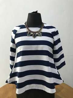 Navy Stripe Top with Necklace