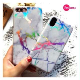 HOLO MARBLE LASER CASE FOR IPHONE(WHITE)