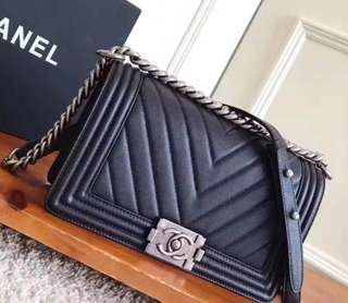 Chanel Chevron Grained Calfskin Medium Boy Flap Bag