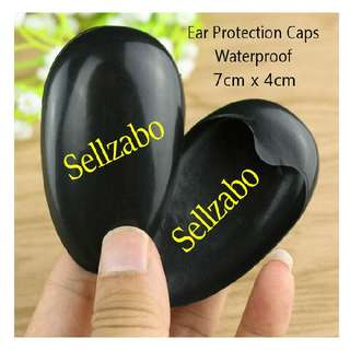 Reusable Black Plastic Ears Caps : Covers : Cases : Casings : Washable : Reuse : Waterproof : Bath : Bathe : Shower : Wash : Mask : Hair : Dye : Colour : Colourings : Ear Pain : Injury : Dry : Protect : Protection