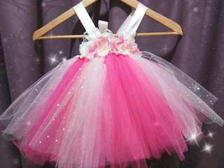 Handmade Pink Floral Tutu Dress (1yo)