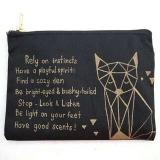Custom design multipurpose canvas pouch with hold zipper - FOX