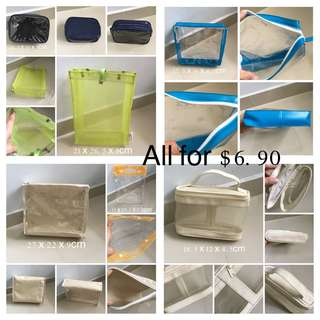 (Used) Set Of 6 Transparent Travel Pouch