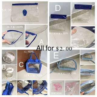 (Used)Set Of 6 Transparent Travel Pouch