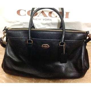 Coach Women's Black & Rose Gold Leather Satchel Handbag with Adjustable Strap