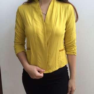 Yellow blazer, bahan kaos