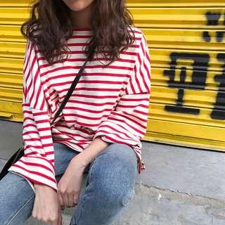 A1186🌸4色*基本款條紋長袖T恤