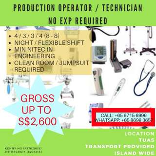 Production Technicians (UP $2,600 Gross / US MNC)