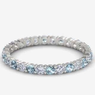 18K 白鑽併海藍寶戒指