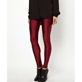 FLASH DEAL - Plus Size GSS Wine Red Shimmering Highly Stretchable Ankle Length Legging