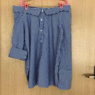 Blue Stripe Off Shoulder Long Sleeve Top