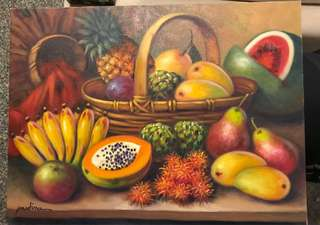 Tropical Fruit Oil on Canvas Painting