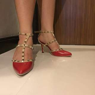 Red shoes with studs