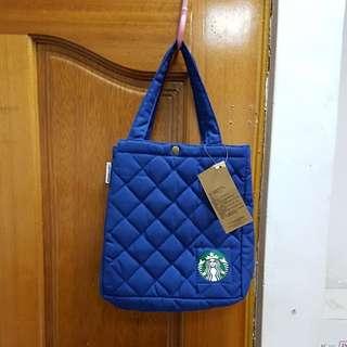 🚚 星巴客藍色菱格紋手提袋22x11.5x24公分