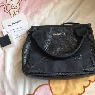 Balenciaga navy xs cabas tote bag leather