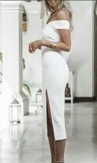 TURUN HARGA BARDOT SLIT DRESS WHITE SIZE L #diskonloh