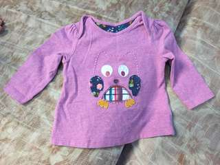 Mothercare owl purple long sleeves