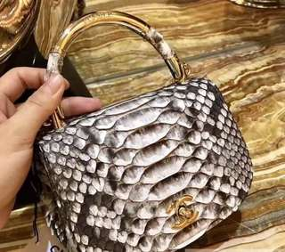 Chanel Python Leather Carry Chic Small Top Handle Flap Bag