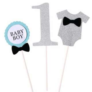 Baby Boy, Number 1, Cutout Suit Cupcake Toppers 3pcs pack