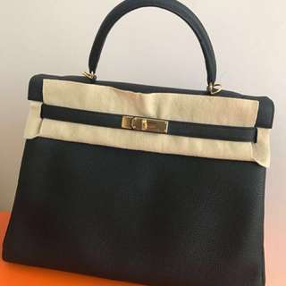 Hermes Kelly TOGO 35 in black and gold hardware (from PARIS)