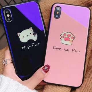 手機殼IPhone6/7/8/plus/X :  可愛貓咪藍光玻璃背板殼