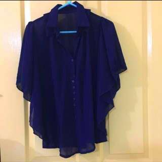 Navy Blue Translucent Batwing TOP