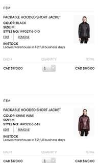 CK packable hooded jacket