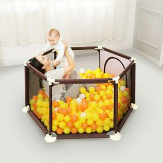 Baby playpen /baby fence /baby bed /in Brown/large  space