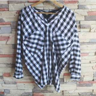 Batwing Checkered Blouse