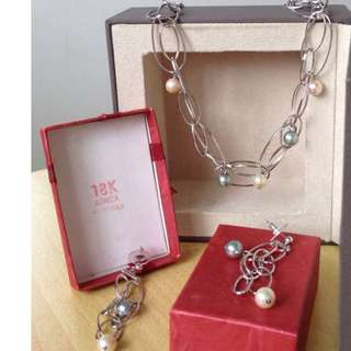 18K Africa White Gold Pearl Necklace Set