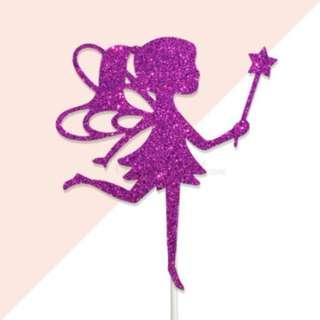 Fairy Magenta Glitters Cake Topper