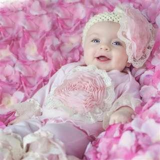 """Haute Baby """"Pink Lullaby"""" set 新生嬰兒 初生bb 大花花粉紅上衣和褲仔一套"""